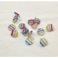 Base de pendiente acero y resina - Circulo rayas color 16 mm (1 par, incluye traseras)