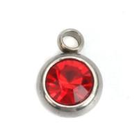 Colgante acero inoxidable circonita roja 8x6 mm
