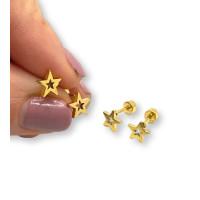 Estrella 7 mm calada con cierre rosca - Pendientes acero inoxidable dorado - 1 par