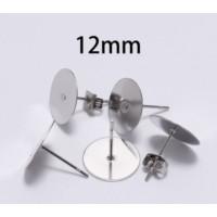 Kit bases pendientes 12mm (10 pares) - Bases pendiente palillo acero inoxidable 12x12 mm
