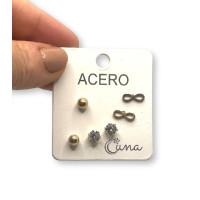 Infinito 10 mm , bolas 5 mm y circonitas 5 mm - Pendientes de acero dorado (3 pares)