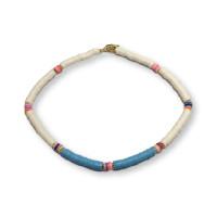 Gargantilla choker collar abalorios katsuki 42 cm blanco y azul pastel