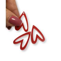 Aplique metacrilato plexy corazon rojo hueco invertido 29x19 mm, int 1.2mm  - 1 par