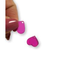 Aplique metacrilato plexy corazon fucsia 14x13 mm, int 1.2mm  - 1 par