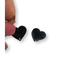 Aplique metacrilato plexy corazon negro 14x13 mm, int 1.2mm  - 1 par