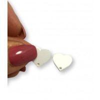 Aplique metacrilato plexy corazon blanco 14x13 mm, int 1.2mm  - 1 par