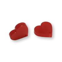 Aplique metacrilato plexy corazon rojo 14x13 mm, int 1.2mm  - 1 par