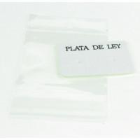 Expositor blanco pendientes 3x4 cm PLATA DE LEY  y bolsa adhesiva  -10 uds