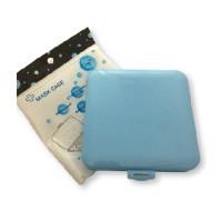 Cajita Azul claro cuadrada de plastico 13x13x1.4 cm para llevar tu mascarilla
