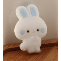 Figurita de silicona- Conejito blanco 26x13 mm - Orejas azul bebe