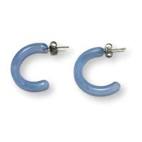 Medios aros azul pastel 24 mm - Pendiente resina y acero Colección Geométrica - 1 par