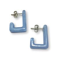 Rectangulos azul pastel 16x21 mm - Pendiente resina y acero Colección Geométrica - 1 par