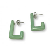 Rectangulos verde pastel 16x21 mm - Pendiente resina y acero Colección Geométrica - 1 par