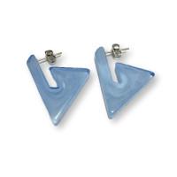 Triangulos azul pastel 22 mm - Pendiente resina y acero Colección Geométrica - 1 par