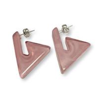 Triangulos rosa pastel 22 mm - Pendiente resina y acero Colección Geométrica - 1 par