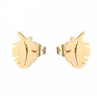 Hojas doradas 10 mm - Pendientes acero inoxidable dorado - 1 par
