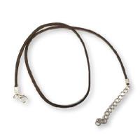 Cordon base collar antelina marron chocolate  47 cm