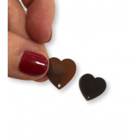 Plexy marron - Aplique colgante corazon invertido 16 mm ( 2 uds)