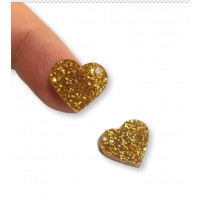 Plexy dorado glitter - Colgante corazon 12.5 mm, taladro lateral 1.5 mm