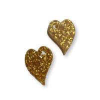 Plexy dorado glitter - Colgante corazon ladeado 14x10mm, int 1.5 mm