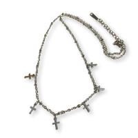 Choker mini cruz - Cadena gargantilla acero plateado 42 + 4 cm