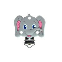Pinza chupetero silicona 50x42 mm- Elefante gris claro