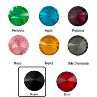 Cristal redondo rivoli 16 mm para piezas de zamak - Negro Jet