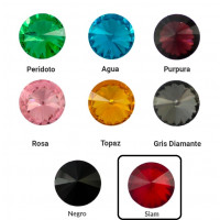 Cristal redondo rivoli 16 mm para piezas de zamak - Rojo Siam
