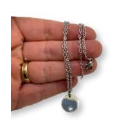 Gargantilla de acero inoxidable 45 cm (GCDA005)con monedita con estrella troquelada (AC170)