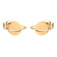 Planeta 10 mm - Pendientes acero inoxidable dorado- 1 par