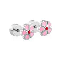 Florecilla rosa 6 mm cierre rosca a presion - Pendientes acero inoxidable plateado y esmalte - 1 par