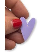 Plexy lila pastel - Colgante corazon pico 28x20 mm, int 1.5 mm