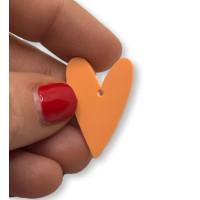 Plexy naranja pastel - Colgante corazon pico 28x20 mm, int 1.5 mm