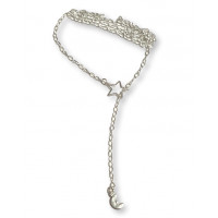 Collar estrella y luna - Plata de ley -  64 cm