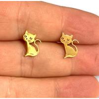 Gatos dorados 10 mm - Pendientes acero inoxidable dorado - 1 par