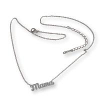 Mama - Cadena gargantilla de acero plateado 43+5 cm extendedora