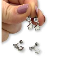 Circonita y estrella blanca  - Pendientes acero inoxidable plateado - 1 par