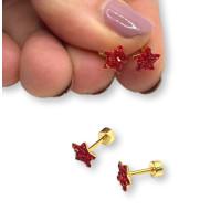 Estrella 7 mm circonitas rojas con cierre rosca - Pendientes acero inoxidable dorado - 1 par