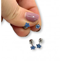 Estrella 5 mm circonitas azules con cierre de rosca - Pendientes acero inoxidable plateado - 1 par