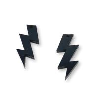 Plexy negro - Colgante rayo triple 30 mm, int 1.5 mm