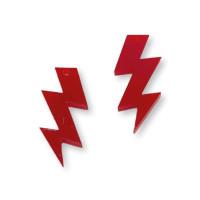 Plexy rojo - Colgante rayo triple 30 mm, int 1.5 mm