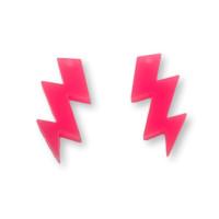 Plexy rosa neon - Colgante rayo triple 30 mm, int 1.5 mm