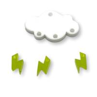 Colgante mini rayo verde lima plexy 10 mm ( para combinar con las nubes PXC-101)