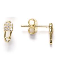 Imperdible clip dorado circonitas blancas  - Pendientes de plata de ley baño oro 8x4 mm( 1 par)