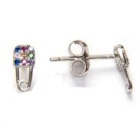 Imperdible clip circonitas multicolor  - Pendientes de plata de ley rodiada 8x4 mm( 1 par)
