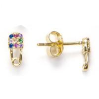 Imperdible clip dorado circonitas multicolores  - Pendientes de plata de ley baño oro 8x4 mm( 1 par)