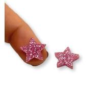 Aplique pegar plexy estrella 14 mm - Rosa glitter- 2 uds