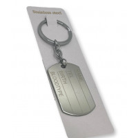 Llavero completo de ACERO INOXIDABLE - Anilla 30 mm placa militar  NAME TEL BIRTH... 5x3 cm ( grabar)