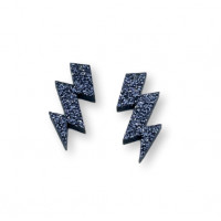 Plexy negro glitter - Colgante rayo triple 30 mm, int 1.5 mm