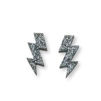 Plexy plata glitter - Colgante rayo triple 30 mm, int 1.5 mm